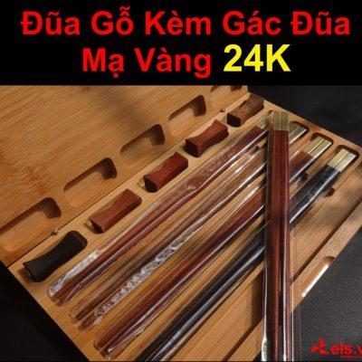 Bộ-5-Đôi-Đũa-Gỗ-Tốt-Mạ-Vàng-24K-Kèm-Gác-Đũa-D2-1